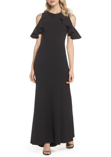 Vince Camuto Ruffle Cold Shoulder Crepe Gown