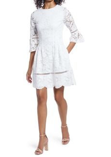 Vince Camuto Lace Bell Sleeve Fit & Flare Dress