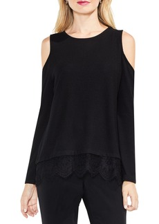 Vince Camuto Lace Detail Cold Shoulder Top