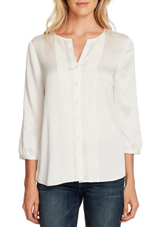 Vince Camuto Lace Detail Hammered Satin Shirt
