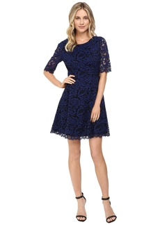 Vince Camuto Lace Elbow Sleeve Fit and Flare Dress w/ Shirring and V-Back