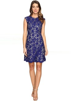 Vince Camuto Lace Extended Cap A-Line Dress with Scallop and Overlap Skirt