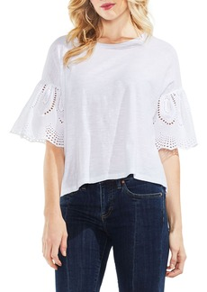 Vince Camuto Lace Eyelet Ruffle Sleeve Tee