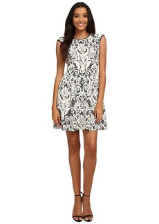 Vince Camuto Lace Fit & Flare w/ Pleather Trim