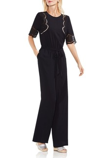 VINCE CAMUTO Lace Inset Belted Jumpsuit