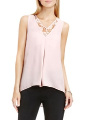 Vince Camuto Lace Inset V-Neck High/Low Blouse