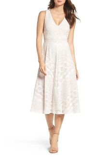 Vince Camuto Lace Mitered Midi Dress