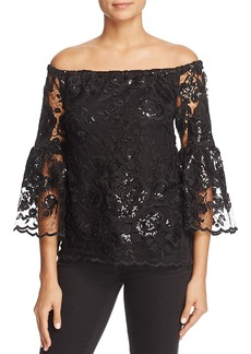 VINCE CAMUTO Lace Off-the-Shoulder Bell Sleeve Top - 100% Exclusive