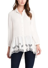 Vince Camuto Lace Peplum Button Up Shirt