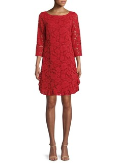 Vince Camuto Lace Quarter-Sleeve Shift Dress