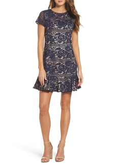 Vince Camuto Lace Ruffle Hem Sheath Dress (Regular & Petite)