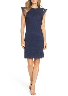 Vince Camuto Lace Ruffle Sleeve Sheath Dress (Regular & Petite)