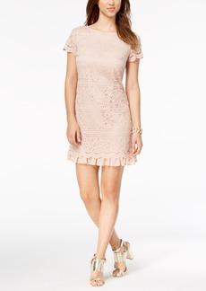 Vince Camuto Lace Ruffled-Hem Dress