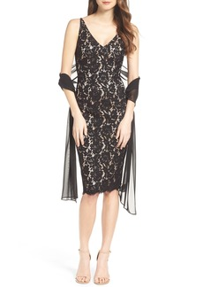 Vince Camuto Lace Sheath Dress with Shawl