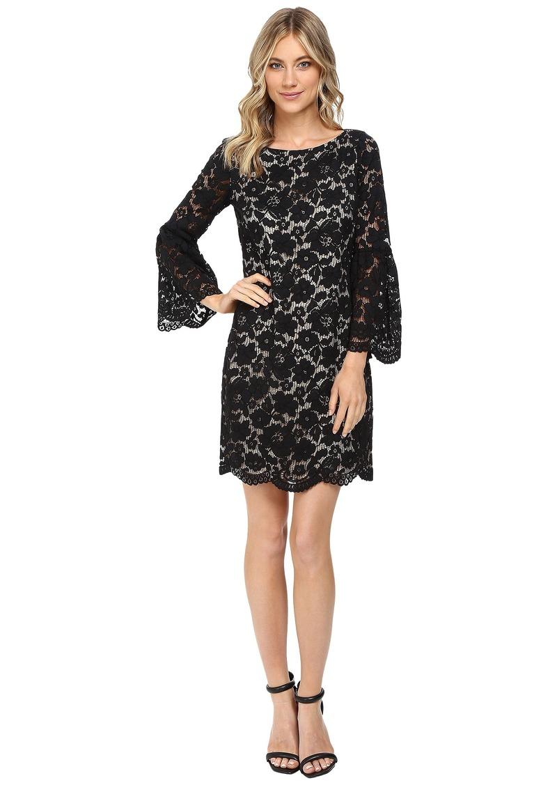 Lace Shift Dress W Flounce Sleeve And Scalloped Hem