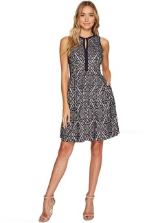 Lace Sleeveless Fit & Flare Dress w/ Piping