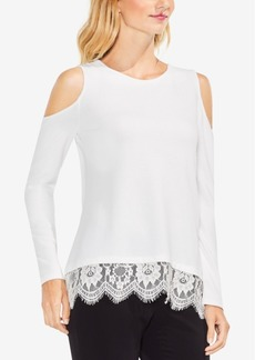 Vince Camuto Lace-Trim Cold-Shoulder Top