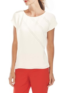 Vince Camuto Lace Trim Mixed Media Top