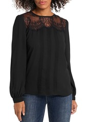 VINCE CAMUTO Lace Trim Pleated Top