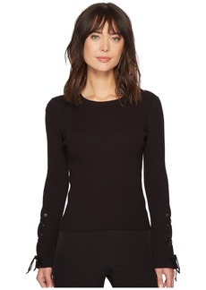 Vince Camuto Lace-Up Bell Sleeve Ribbed Sweater