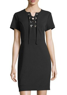 Vince Camuto Lace-Up Front Short-Sleeve Dress