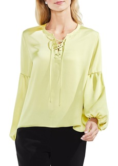 Vince Camuto Lace-Up Hammered Satin Blouse