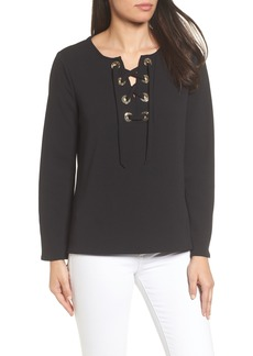 Vince Camuto Lace-Up Ponte Blouse