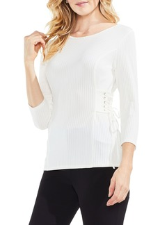 Vince Camuto Lace-Up Ribbed Top