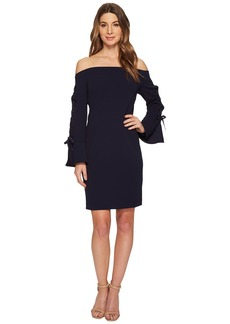 Vince Camuto Lace-Up Sleeve Off Shoulder Crepe Ponte Dress