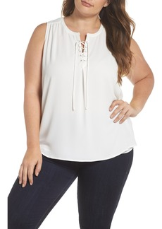 Vince Camuto Lace-Up Sleeveless Blouse (Plus Size)