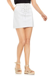 Vince Camuto Lace-Up Stretch Cotton Mini Skirt
