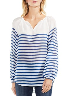 VINCE CAMUTO Ladder Stripe Peasant Blouse