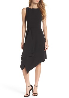Vince Camuto Laguna Crepe Asymmetric Hem Dress (Regular & Petite)