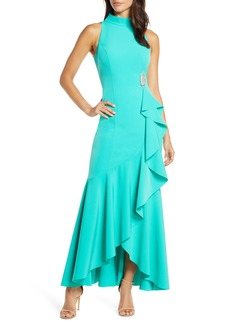 Vince Camuto Laguna Mock Neck Crepe Gown