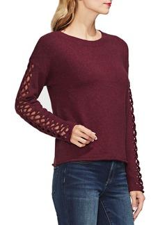 Vince Camuto Lattice Sleeve Cotton Blend Sweater (Regular & Petite)