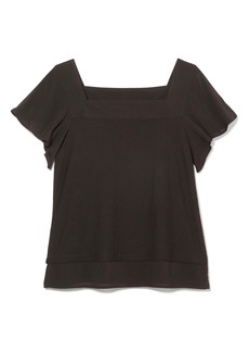Vince Camuto Layered Look Flutter Sleeve Top (Regular & Petite)