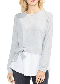 VINCE CAMUTO Layered Look Tie Waist Sweatshirt