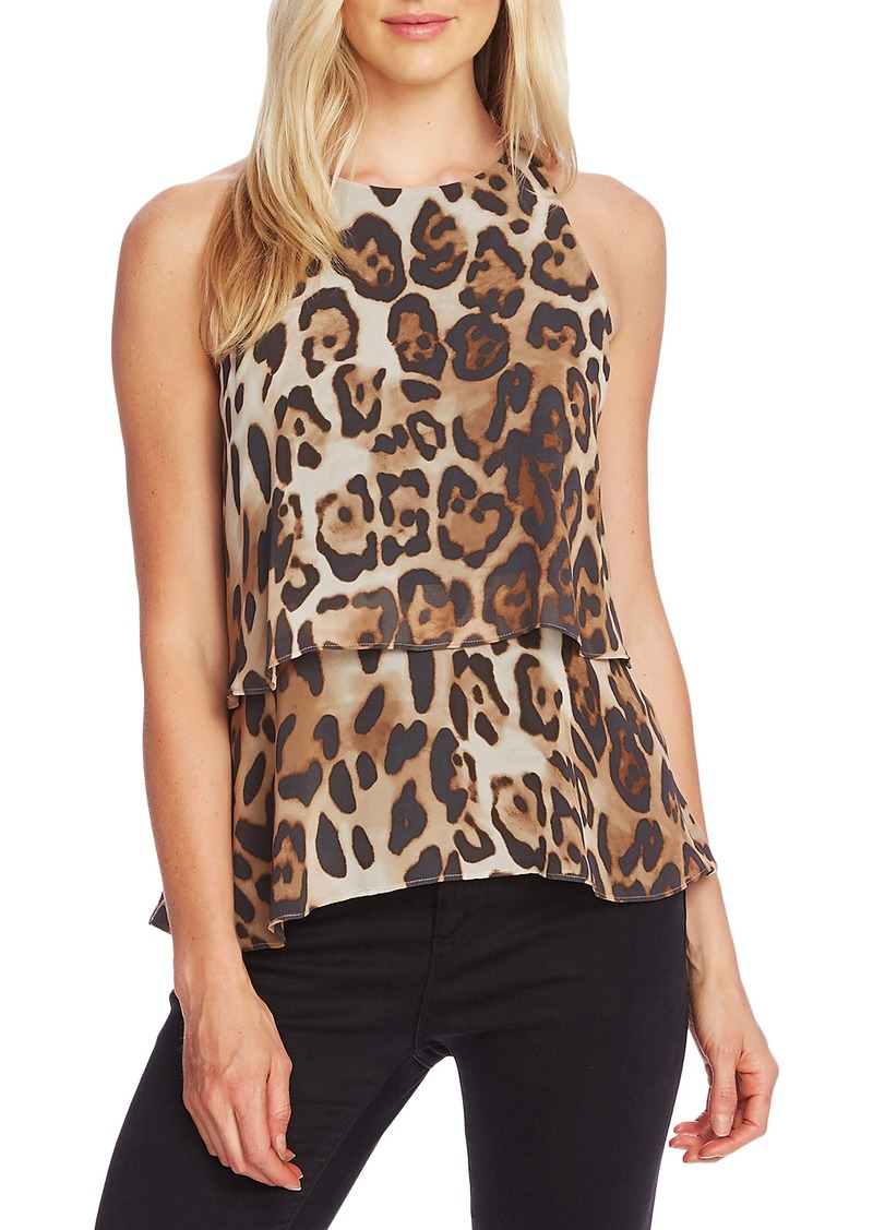 Vince Camuto Leopard Double Layer Tank Top