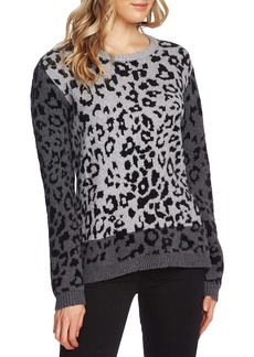 Vince Camuto Leopard Jacquard Cotton Blend Sweater