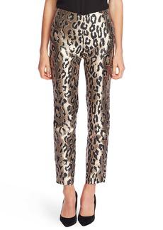 Vince Camuto Leopard Jacquard Metallic Slim Trousers