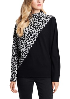 Vince Camuto Leopard Jacquard Mix Print Long Sleeve Top
