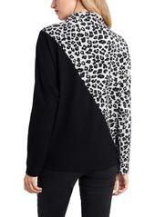 Vince Camuto Leopard Jacquard Mix Print Long Sleeve Top