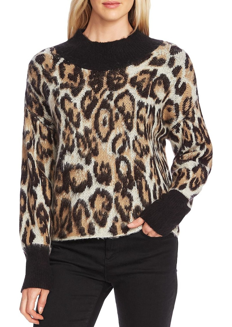 VINCE CAMUTO Leopard Mock-Neck Sweater
