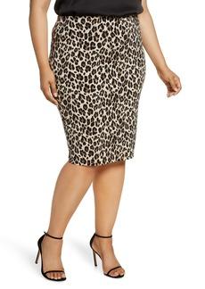 Vince Camuto Leopard Pencil Skirt (Plus Size)