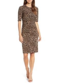 Vince Camuto Leopard Print Body-Con Dress
