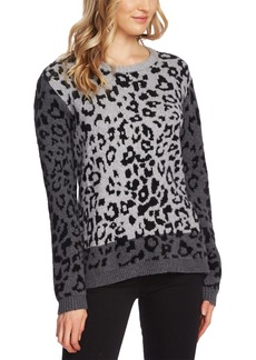 Vince Camuto Leopard-Print Colorblocked Sweater