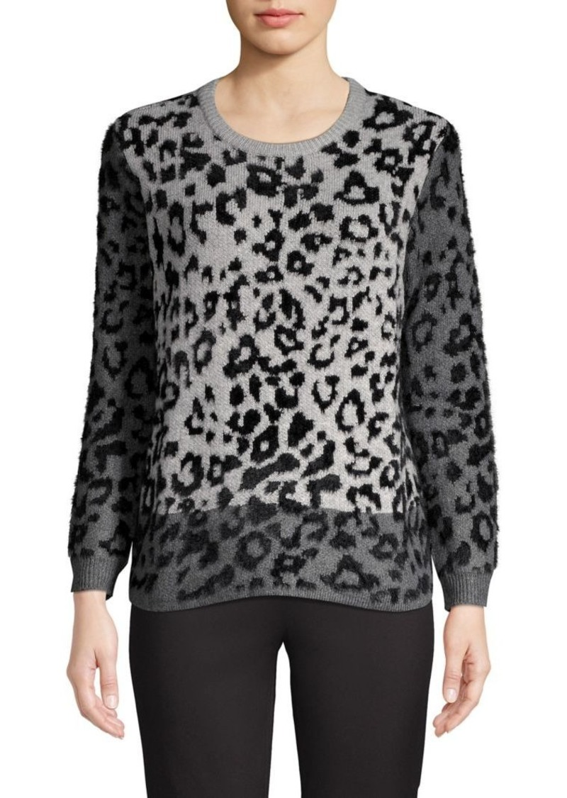 Vince Camuto Leopard-Print Cotton-Blend Sweater