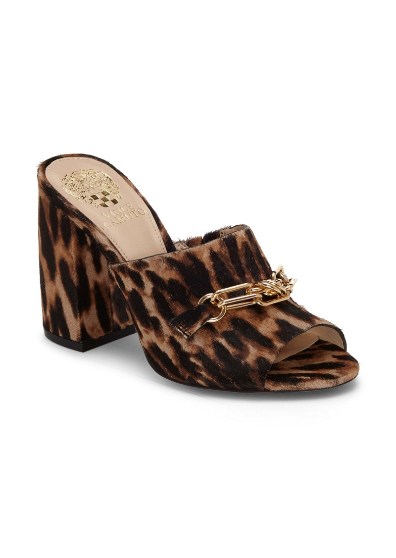 Vince Camuto Leopard Print Genuine Calf Hair Slide Sandal (Women)