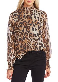 Vince Camuto Leopard Print High Neck Blouse