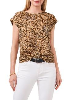 Vince Camuto Leopard Print Knot Front T-Shirt